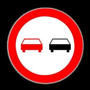 Überholverbot: Das Schild zeigt an, dass Überholen hier verboten ist.