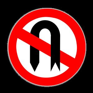 Dieses Straßenschild zeigt an, dass das Umkehren mit dem Auto an dieser Stelle verboten ist.