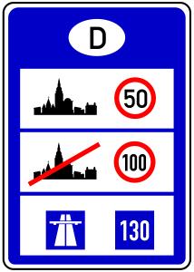 An Grenzübergängen kündigt ein Verkehrszeichen die Richtgeschwindigkeit weiterhin an.