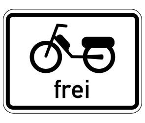 Das Fahren mit einem Kleinkraftrad kann durch ein Zusatzschild erlaubt sein.